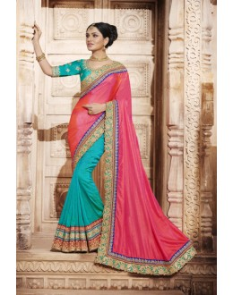 Festival Wear Multi-Colour Silk Saree  - 4070
