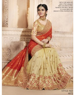 Red & Beige Silk Jacquard Half & Half Saree  - 4072