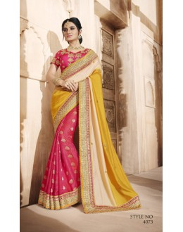Wedding Wear Multi-Colour Silk Saree  - 4073