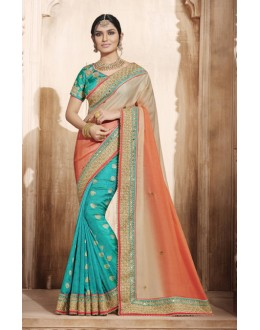 Festival Wear Multi-Colour Silk Embroidery Saree  - 4074