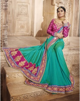 Wedding Wear Morpeach Handloom Silk Art Saree  - 4075