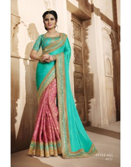 Festival Wear Multi-Colour Satin Saree  - 4077