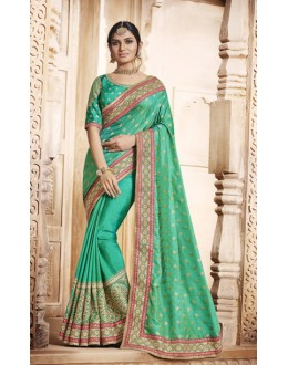 Wedding Wear Green Jacquard Silk Saree  - 4079