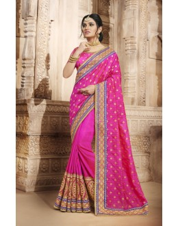 Festival Wear Rani Colour Jaquard Silk Saree  - 4080
