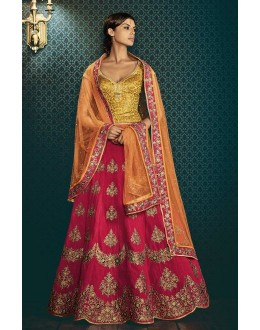 Festival Wear Pink & Orange Paris Silk Lehenga Choli - 5057