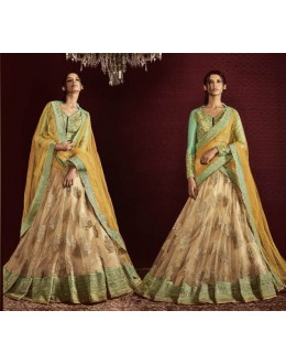 Ethnic Wear Beige & Yellow Net Embroidered Lehenga Choli - 5066