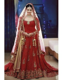 Wedding Wear Red & Beige Net Embroidered Lehenga Choli - 5069