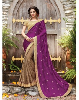 Ethnic Wear Magenta & Beige Embroidery Saree  - PATANG-19001