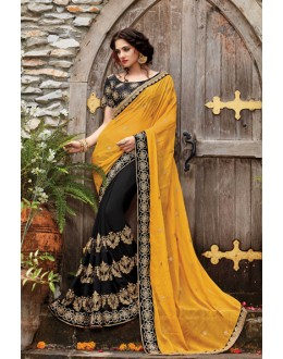 Yellow & Black Georgette Half & Half Saree  - PATANG-19003
