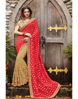 Red & Beige Pure Viscose Half & Half Saree  - PATANG-19004