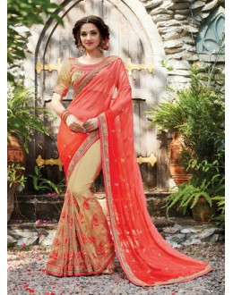 Festival Wear Peach & Beige Korean Net Saree  - PATANG-19008