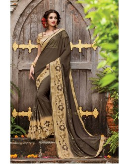 Ethnic Wear Dark Brown Georgette Saree  - PATANG-19009