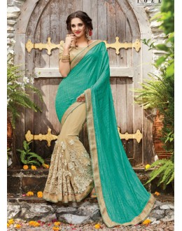 Ethnic Wear Multi-Colour Korean Net Saree  - PATANG-19014