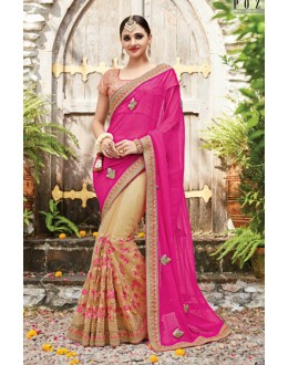 Festival Wear Pink & Beige Korean Net Saree  - PATANG-19015