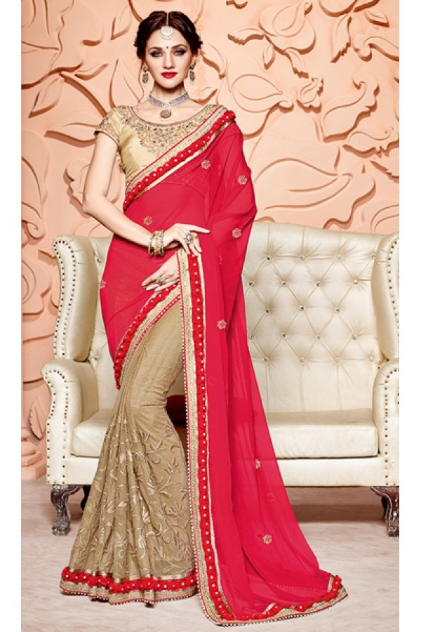 Party Wear Red & Beige Pure Chiffon Saree  - 3504