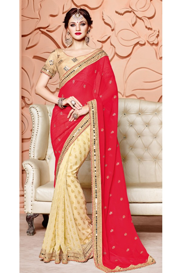 Ethnic Wear Red & Beige Pure Chiffon Saree  - 3511