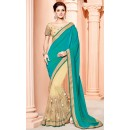 Festival Wear Green & Beige Silk Saree  - 3512