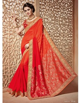Ethnic Wear Orange & Red Saree  - PATANG-3804