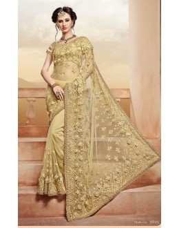 Wedding Wear Golden Saree  - PATANG-3805