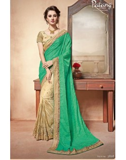 Ethnic Wear Green & Beige Saree  - PATANG-3808