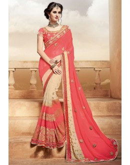 Traditional Pink & Beige Saree  - PATANG-3809