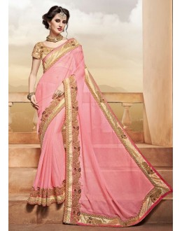 Festival Wear Light Pink Saree  - PATANG-3812