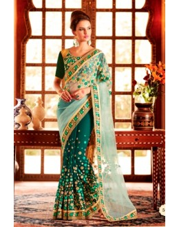 Designer Cream & Green Resham Embroidered Net Georgette Contemporary Saree - 59 ( SS - KHWAB - 54 )