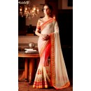 Designer Cream & Red Resham Embroidered Net Georgette Ready Pleated Saree - 57 ( SS - KHWAB - 54 )