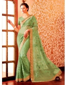 Designer Green Resham Embroidered Net Georgette Lehenga Style Saree - 62 ( SS - KHWAB - 54 )