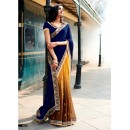 Ethnic Wear Georgette Navy Blue Saree - 4052
