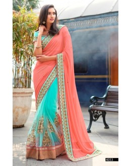 Ethnic Wear Georgette Peach & Sky Blue Saree - 4053