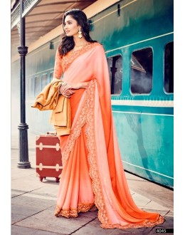 Ethnic Wear Self Jacquard Peach Saree - 4045