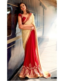 Festival Wear Chiffon Red Saree - 4051