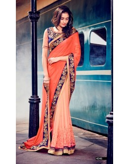Party Wear Chiffon Peach Saree - 4046