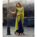 Party Wear Georgette Olive Saree - 4056