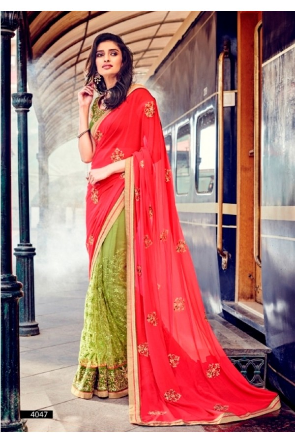 Party Wear Georgette Red Saree - 4047
