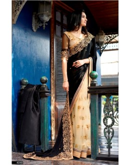 Party Wear Self Jacquard Black Saree - 4048