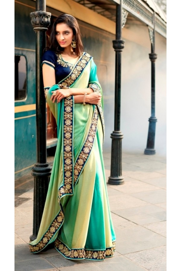 Party Wear Self Jacquard Multicolor Saree - 4055