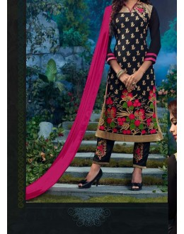 Party Wear Black Georgette Salwar Suit - EF119