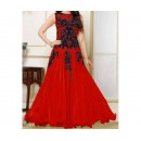 Party Wear Black Red Georgette Salwar Suit - EF093