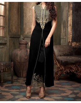 Party Wear Black Velvet Salwar Suit - EF108