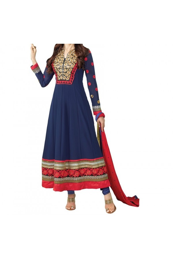 Party Wear Blue Georgette Salwar Suit - EF090