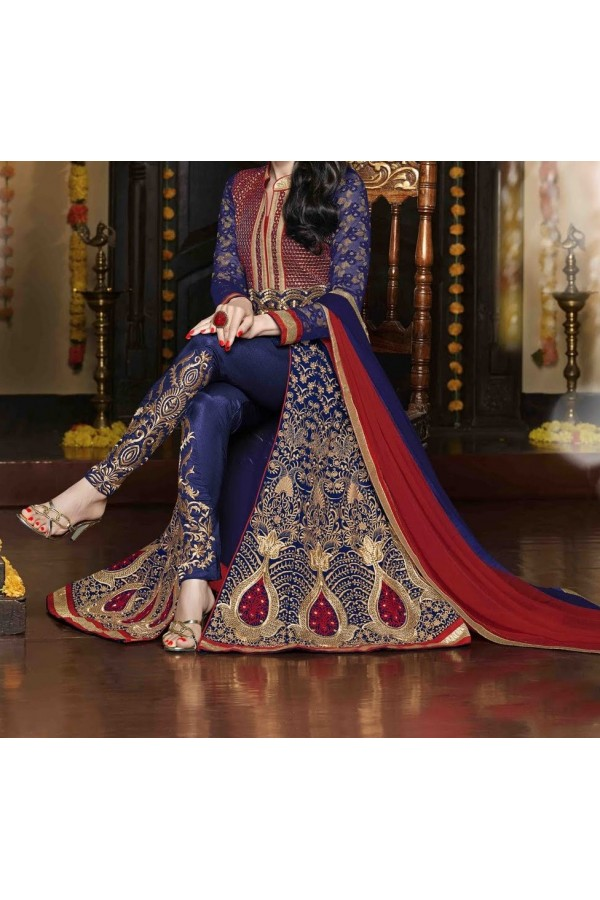 Party Wear Blue Georgette Salwar Suit - EF097