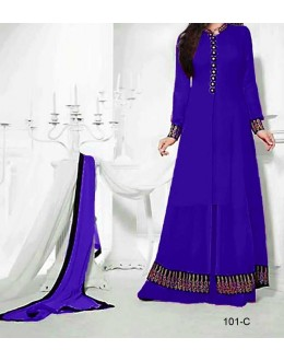 Party Wear Blue Georgette Salwar Suit - EF104