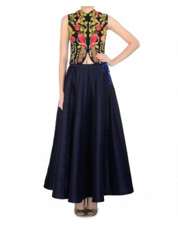 Party Wear Blue Georgette Salwar Suit - EF129