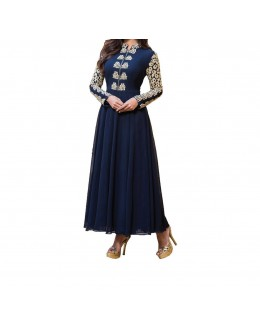 Party Wear Blue Georgette Salwar Suit - EF142