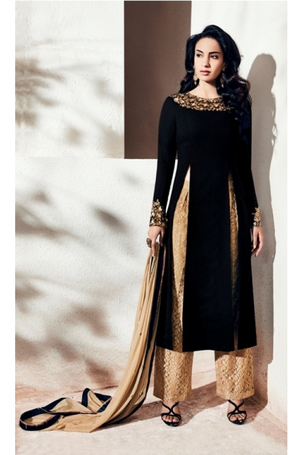 Party Wear Georgette Black Palazzo Suit - 1006-A