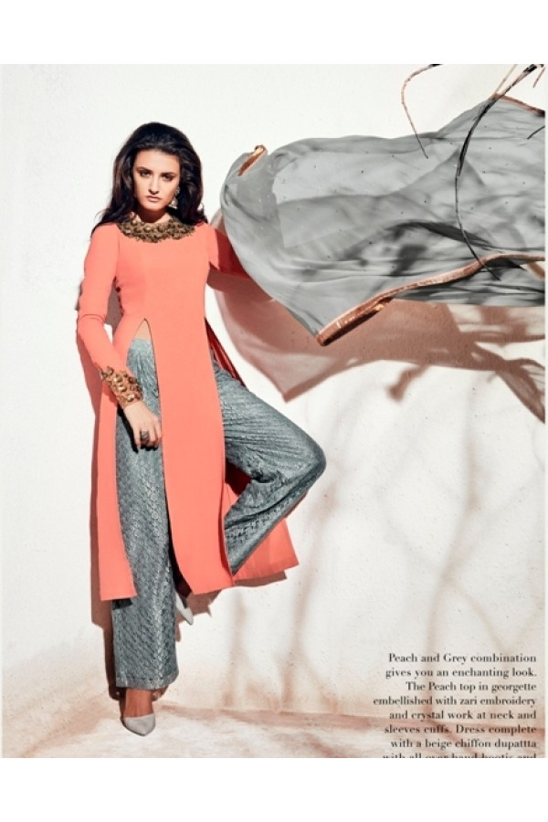 Party Wear Georgette Peach Palazzo Suit - 1006-B