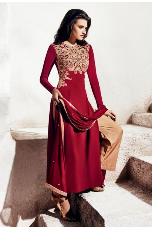 Party Wear Georgette Red Palazzo Suit - 1007-B