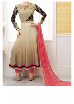 Party Wear Gorgeous Chickoo Georgette Salwar Suit - EF150
